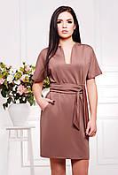 Женское короткое прямое платье с поясом кофейного цвета