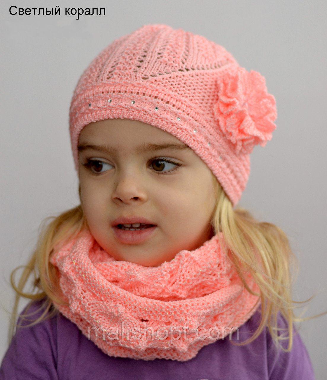 Тонкая детская ажурная шапочка для девочек
