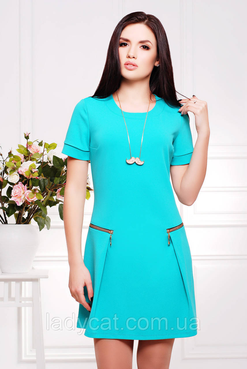 Молодежное женское платье с коротким рукавом бирюзового цвета -