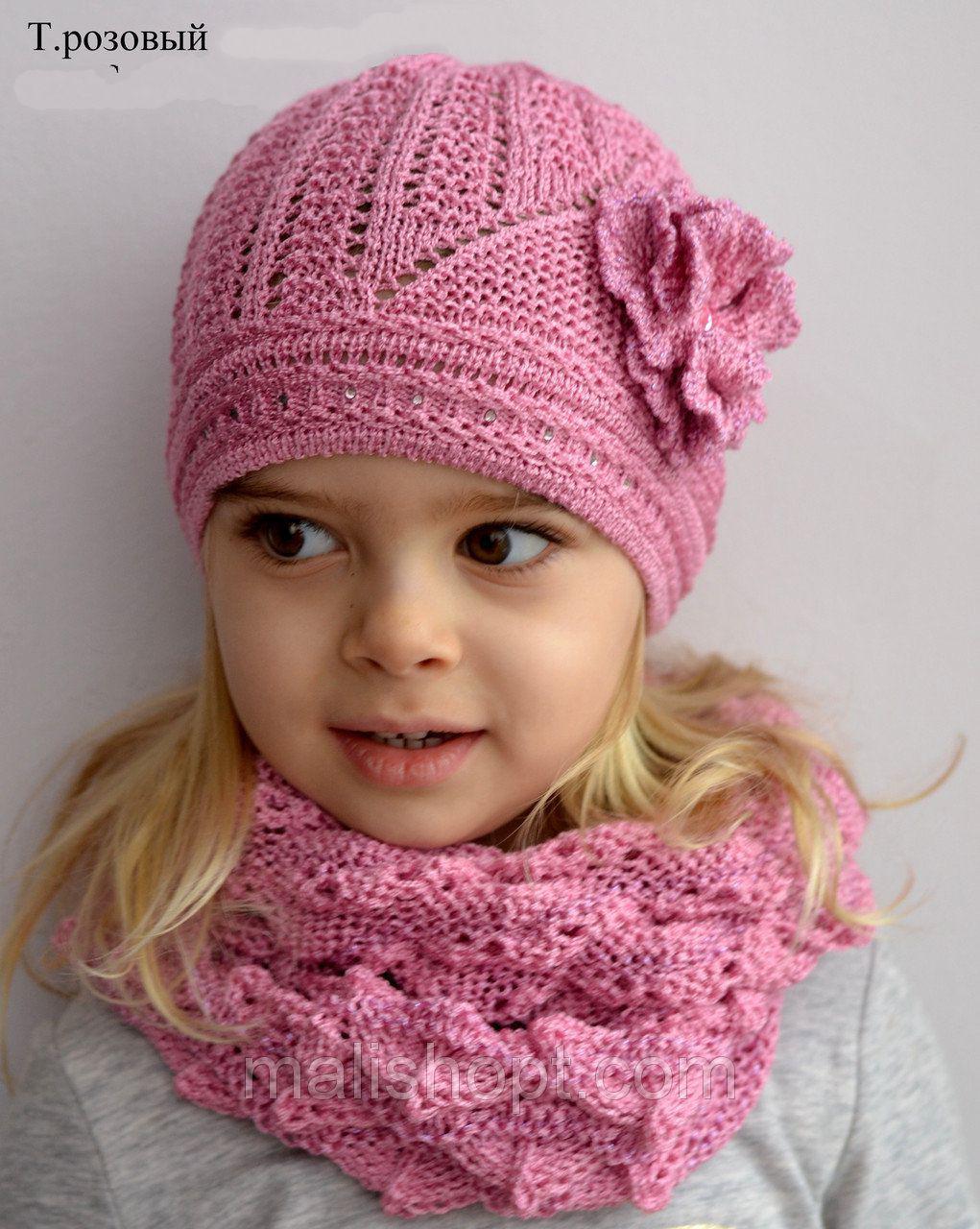 Тонкая детская шапочка для девочек от 2 до 7 лет молочного цвета