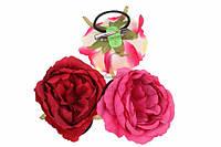 (Цена за 12шт) Розы тканевые с креплением Ensete (разные цвета), матерал ткань, для веночка, тканевые цветы для рукоделия, цветы декорные