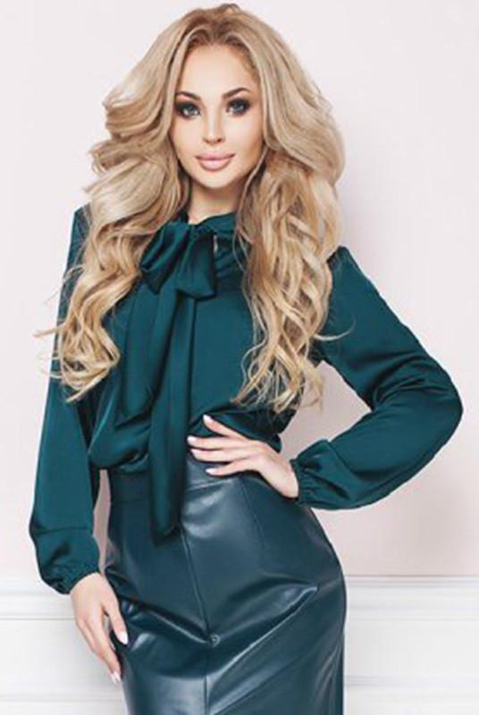 Блузки для офиса -Эмилия- изумрудный