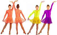 Платье рейтинговое с гипюром бейсик 1641, 3 цвета: размер 122-164см