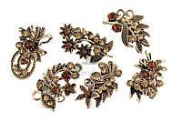 Брошь в виде соцветий со стразами (под золото), украшения для одежды, ювелирная бижутерия