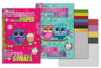 "Набор ""Cute little owl""картон(8 листов+2металл.)+бумага 2хсторонняя, 12 листов"