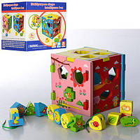 Деревянная игрушка Сортер, куб, фигурки 16шт, шнуровка, в кор. 15*15*15см (36шт)