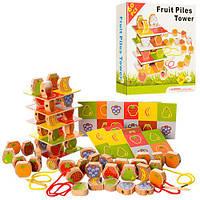 Деревянная игрушка Шнуровка, фрукты и ягоды, 60дет, в кор. 21*21*4,5см (60шт)