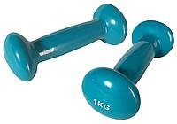 Гантели для фитнеса и аэробики, виниловые, нескользящие 1 кг
