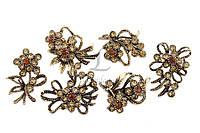 Брошь в форме цветочков со стразами (под золото), украшения для одежды, ювелирная бижутерия
