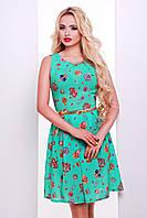 Летнее  легкое  зеленое женское платье из креп шифона