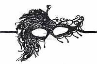 """Кружевная маска """"Fendlera"""" для маскарада, черная, длина 20см, ширина 18см, Венецианская маска, Ажурная маска"""