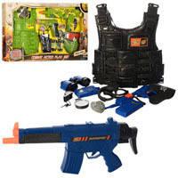 Набор военного 8635_36 (18шт) бронежилет,автомат,пистолет,бинокль,2вида,в кор_ке,70,5_38_5см