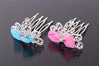 """(Цена за 12шт) Диадема """"Hyacinth"""" (цвет: серебро) в камнях с бантиком (разноцветные), украшение для головы, диадема - гребешок, украшение для невесты"""