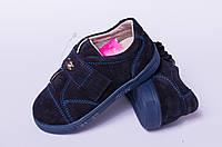 Туфли детские на липучке из натуральной замши синего цвета от производителя модель ТД -15