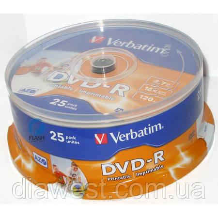 Диск Verbatim DVD-R Printable 4,7GB 16x Spindle Packaging 25шт (43538)