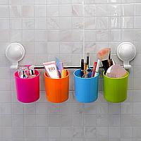 Настенный держатель присоска для ванной или кухни 4 стакана