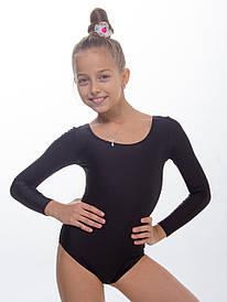 Детский купальник для танцев с длинным рукавом черный из бифлекса (рост 98см-140см)