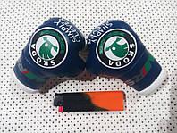 Перчатки боксерские мини сувенир подвеска в авто синие SKODA