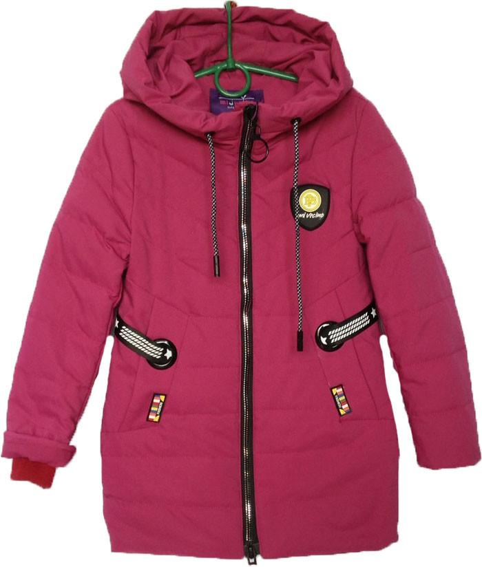 """Куртка подростковая демисезонная """"Minika"""" #1759 для девочек. 7-8-9-10-11 лет. Вишневая. Оптом."""