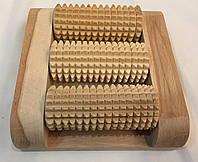 Массажер деревянный для ног однорядный на 3 валика