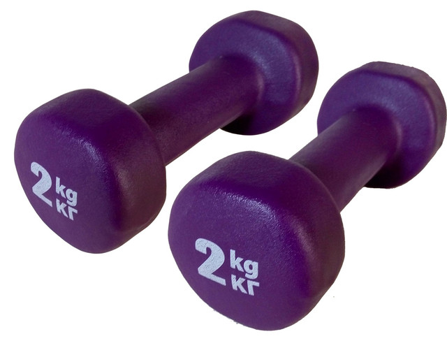 Купить гантели для фитнеса и аэробики, виниловые, нескользящие 2 кг
