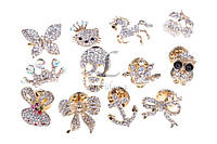 Набор брошей декорированных стразами (под золото), украшения для одежды, ювелирная бижутерия