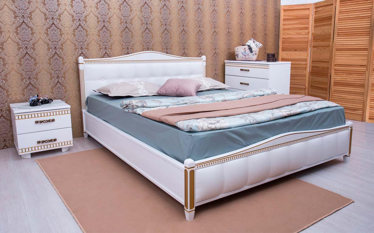 ✅ Деревянная кровать Прованс Мягкая спинка квадраты с механизмом 120х190 см ТМ Аурель (Олимп)