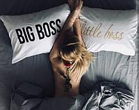 Постельное белье Евро Сатин Египетский Хлопок с принтом Big Boss and Little Boss