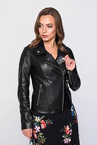 Женская черная кожаная куртка косуха (7039 sk)