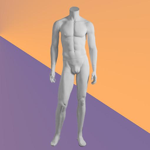 Манекен мужской белый без головы матовый