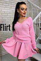 Костюм женский свитер и юбка мини вязка разные цвета KfL789, фото 1