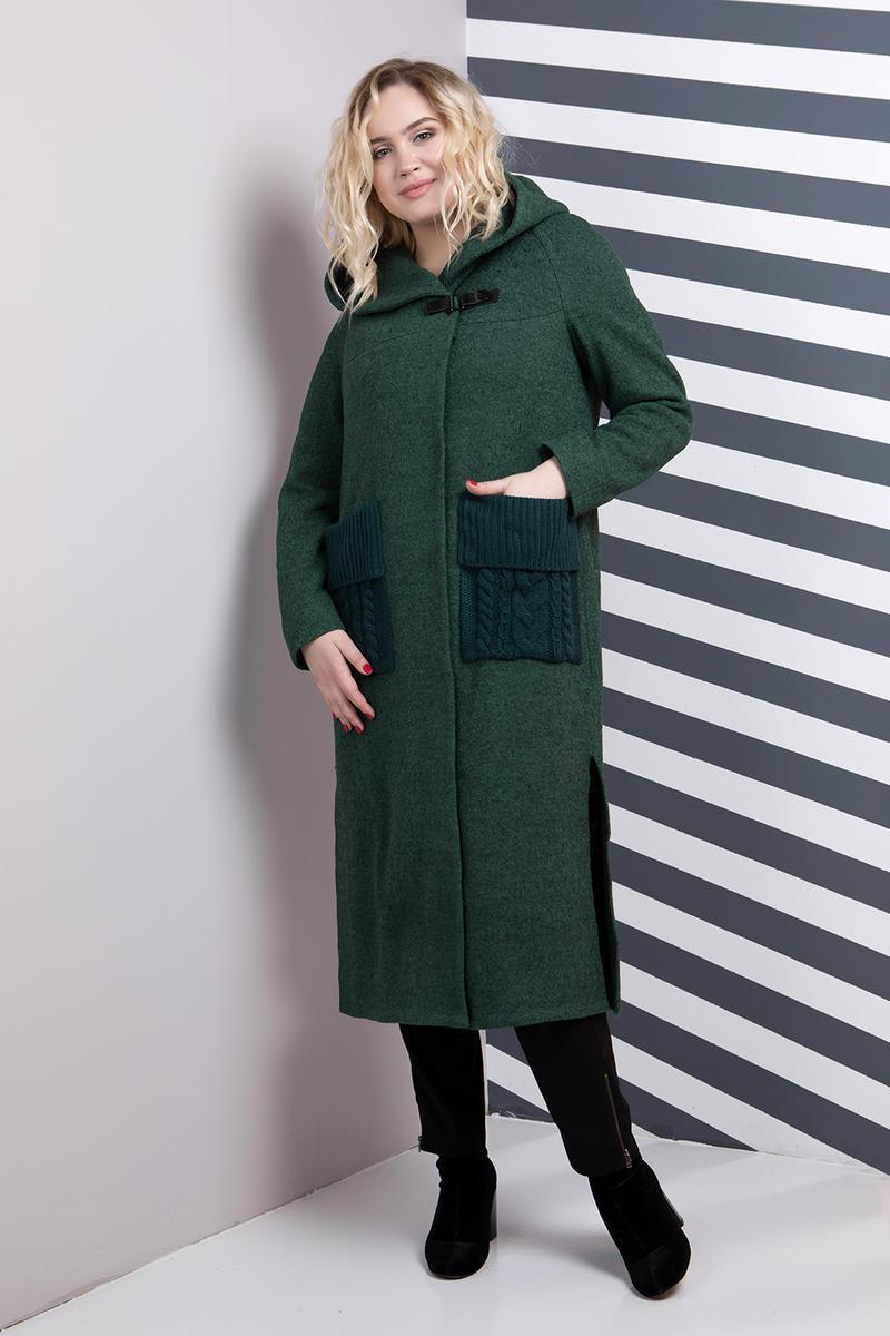 Женское пальто-кардиган больших размеров 628   размер 48-62   цвет зеленый 014a56604a168