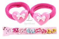 Резинка детская для волос Bischofia с украшением в виде сердца с бантиком (разноцветная), резинка для девочек, аксессуары для создания причесок и