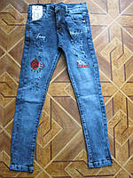 Модные стретчевые джинсы с вышивкой  для девочки-подростка 134  см  Турция, фото 1