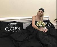 Постельное белье Евро Сатин Египетский Хлопок с принтом King and Queen