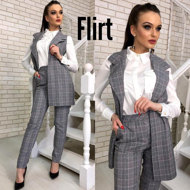 8f73904c594 Костюм стильный женский жилет с отложным воротником и брюки костюмка 2  расцветки.