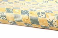 """Бумага упаковочная """"Alice in Wonderland"""" в серо-желтую клетку, длина 50см, ширина 70см, Бумага для упаковки подарков, Подарочная бумага"""