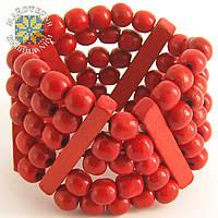 Широкий браслет червоного кольору з дерев'яних намистин, фото 1