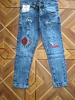 Детские модные стретчевые джинсы с вышивкой для девочки  92-98 см  Турция, фото 1