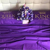 Постельное белье Евро Сатин Египетский Хлопок с принтом King and Queen Фиолетовый, фото 1