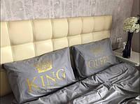 Постельное белье Евро Сатин Египетский Хлопок с принтом King and Queen Grey
