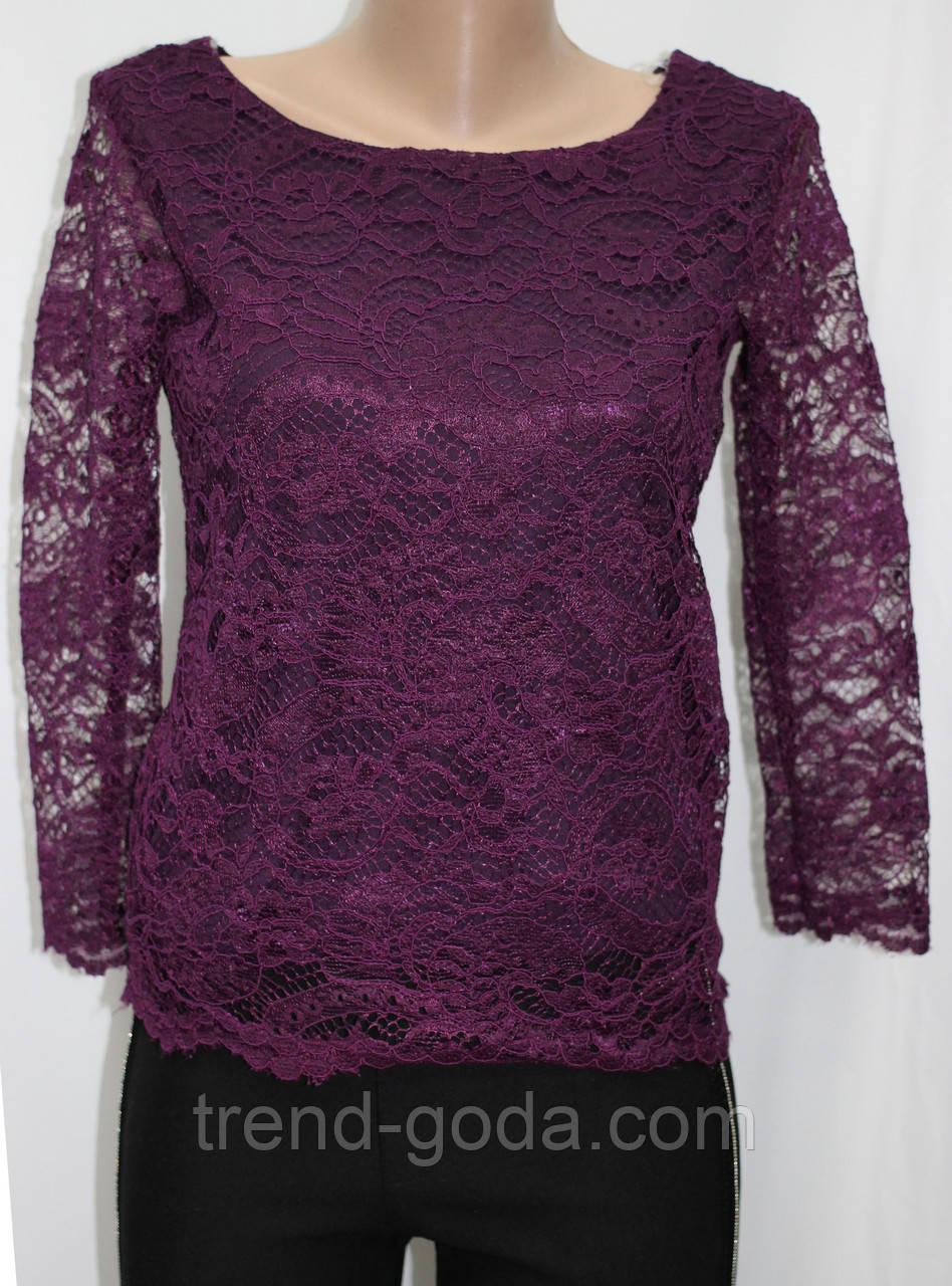 Женская блуза ажурная,блузка кружевная, фиолетовая Турция