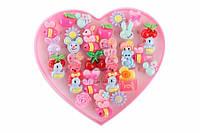 Набор детских колец Fibigia (разные цвета) в виде цветочков, животных, фруктов, яркая бижутерия для детей, колечки для девочек, детская бижутерия,