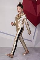 Золотые лосины на девочку подростка из экокожи Размеры 134- 158