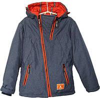 """Куртка подростковая демисезонная """"TW JM"""" #828 для мальчиков. 7-8-9-10-11 лет. Серо-синяя. Оптом., фото 1"""