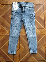 Детские модные джинсы рванка  с вышивкой для девочек 4 - 5 лет Турция, фото 1