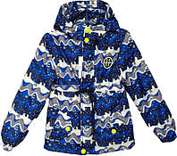 """Куртка детская демисезонная """"11"""" #6-3 для мальчиков. 5-6-7-8 лет. С синим принтом. Оптом., фото 1"""
