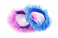 Резинка детская для волос Bolbitis с украшением в виде рюшек в горошек (9 цветов), резинка для девочек, аксессуары для создания причесок и образов,