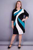 Клавдія. Оригінальне жіноче плаття великих розмірів. М'ята розміра 50 52 54 56 58 60 62 64 трикотаж