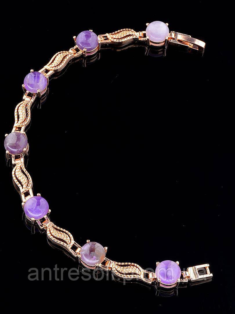 Позолоченный браслет женский Аметист код 1330